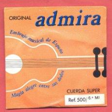 Instrumentos musicales: CUERDA Nº 6 MI ADMIRA EN SU SOBRE ORIGINAL, VER FOTOS. Lote 218269448
