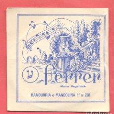 Instrumentos musicales: CUERDA PARA BANDURRIA O MANDOLINA, 1ª Nº 201,FERRER - GATO NEGRO, EN SU SOBRE ORIGINAL, VER FOTOS. Lote 218271508
