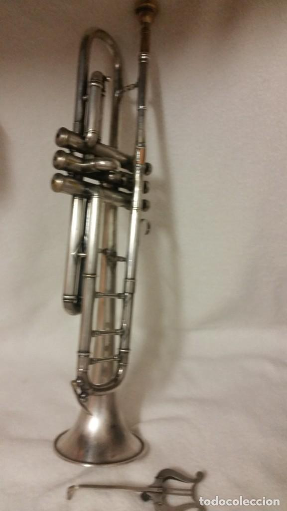 Instrumentos musicales: TROMPETE PLACADO DE PLATA ,SELADO PARIS,RUA DE NANCY .HUG Y CO BASEF ANOS ,40,50,60 - Foto 6 - 218941992
