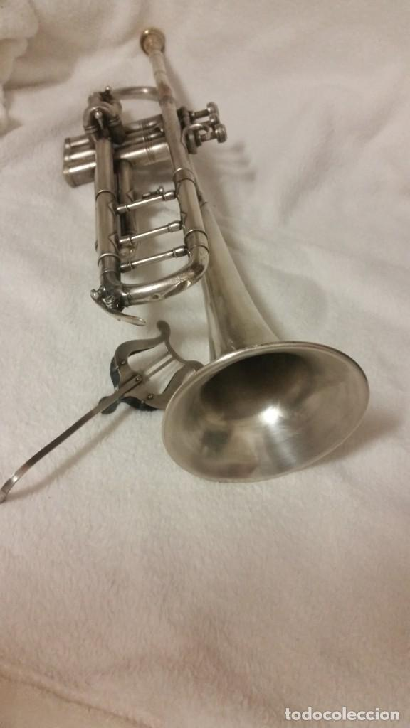 Instrumentos musicales: TROMPETE PLACADO DE PLATA ,SELADO PARIS,RUA DE NANCY .HUG Y CO BASEF ANOS ,40,50,60 - Foto 15 - 218941992