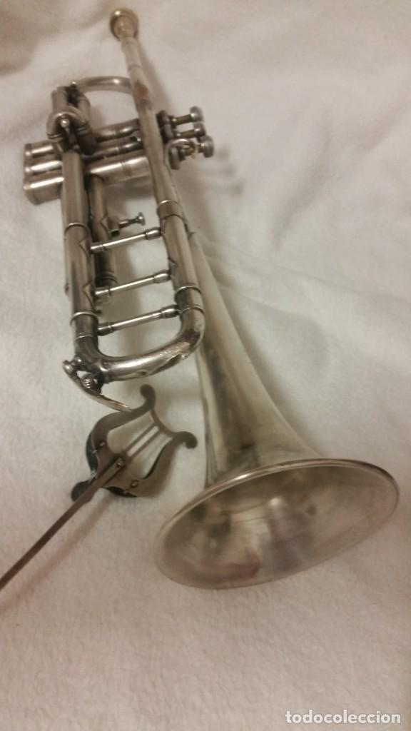 Instrumentos musicales: TROMPETE PLACADO DE PLATA ,SELADO PARIS,RUA DE NANCY .HUG Y CO BASEF ANOS ,40,50,60 - Foto 16 - 218941992