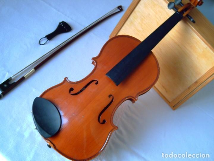 VIOLÍN 3/4 (56 CMS.), CON ARCO Y ESTUCHE. EN PERFECTO ESTADO. (Música - Instrumentos Musicales - Cuerda Antiguos)