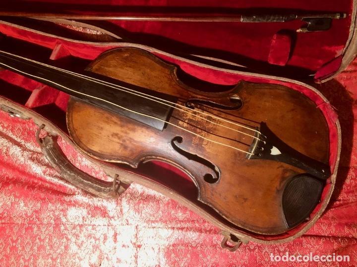 Instrumentos musicales: ANTIGUO VIOLIN. ESTILO MAGGINI. CAJA CON DECORACIÓN DOBLE FILETE. SIGLO XVIII-XIX. - Foto 3 - 221732481