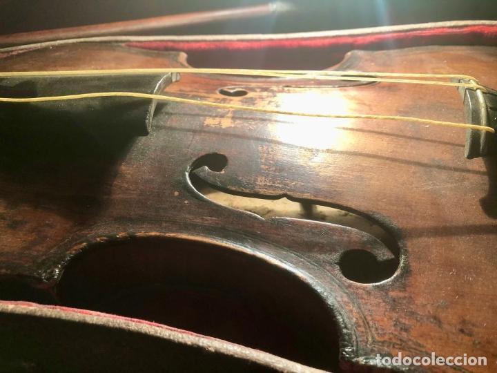 Instrumentos musicales: ANTIGUO VIOLIN. ESTILO MAGGINI. CAJA CON DECORACIÓN DOBLE FILETE. SIGLO XVIII-XIX. - Foto 7 - 221732481