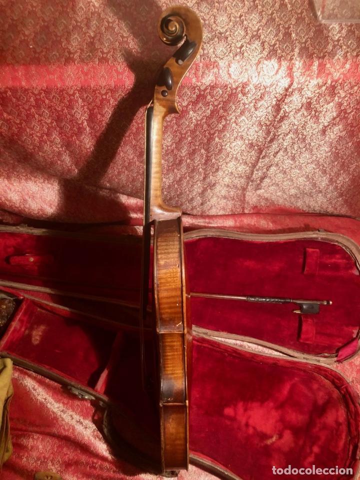Instrumentos musicales: ANTIGUO VIOLIN. ESTILO MAGGINI. CAJA CON DECORACIÓN DOBLE FILETE. SIGLO XVIII-XIX. - Foto 10 - 221732481