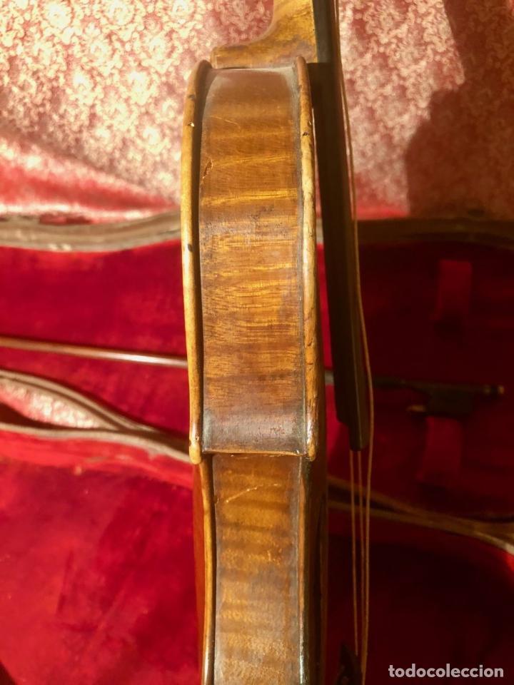 Instrumentos musicales: ANTIGUO VIOLIN. ESTILO MAGGINI. CAJA CON DECORACIÓN DOBLE FILETE. SIGLO XVIII-XIX. - Foto 17 - 221732481