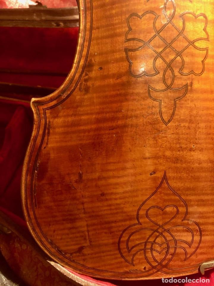 Instrumentos musicales: ANTIGUO VIOLIN. ESTILO MAGGINI. CAJA CON DECORACIÓN DOBLE FILETE. SIGLO XVIII-XIX. - Foto 23 - 221732481