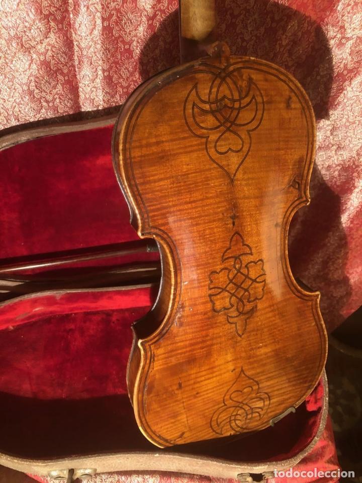 Instrumentos musicales: ANTIGUO VIOLIN. ESTILO MAGGINI. CAJA CON DECORACIÓN DOBLE FILETE. SIGLO XVIII-XIX. - Foto 29 - 221732481