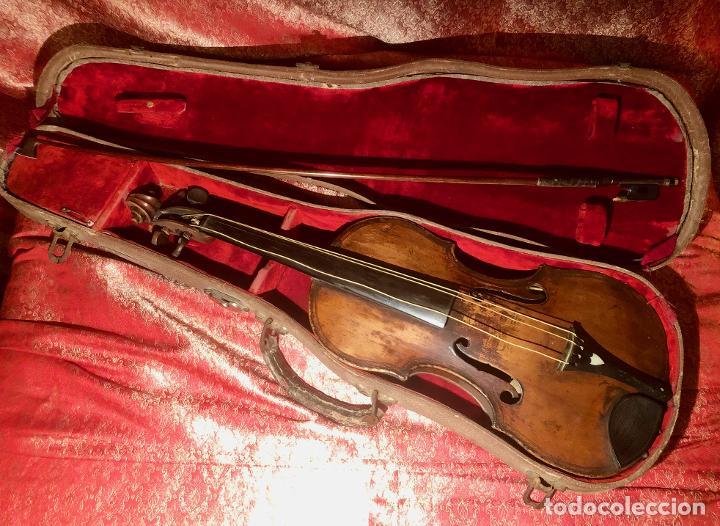 ANTIGUO VIOLIN. ESTILO MAGGINI. CAJA CON DECORACIÓN DOBLE FILETE. SIGLO XVIII-XIX. (Música - Instrumentos Musicales - Cuerda Antiguos)