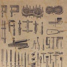 Instrumentos musicales: TALLER DE LUTHERÍA COMPLETO (BANCO, HERRAMIENTAS, MADERAS ANTIGUAS, BARNICES,PLANOS, ETC...). Lote 224014923