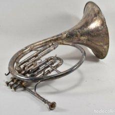 Instrumentos musicales: ANTIGUA TROMPA MUSICAL CUERNO, TROMPETA PARIS BOSQUE FIRMADA 45X38X28 CM 499 EUROS. Lote 227778061