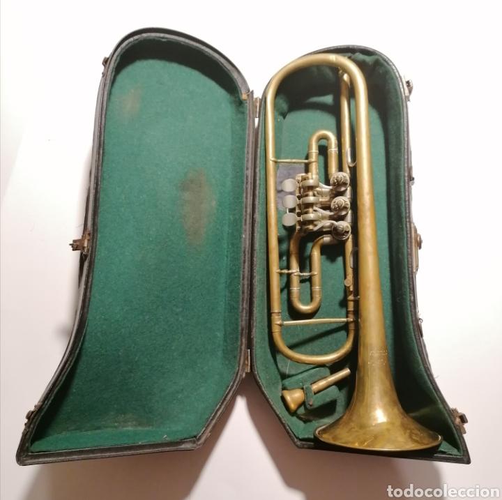 ANTIGUO INSTRUMENTO VIENTO METAL FLISCORNIO ? TROMPETA ? MÚSICA CON FUNDA (Música - Instrumentos Musicales - Viento Metal)