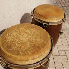 Instrumentos musicales: 2 CONGAS , PERCUSIÓN SCHALLOCH, DE MADERA, MADE IN THAILAND. Lote 240015850