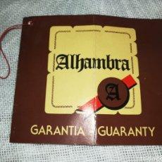 Instrumentos musicales: GUITARRA ALHAMBRA, GARANTÍA AÑO 1982. Lote 241000665