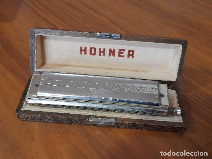 ANTIGUA ARMONICA HOHNER THE 45, PROFECIONAL MODEL EN SU CAJA ORIGINAL (Música - Instrumentos Musicales - Viento Metal)