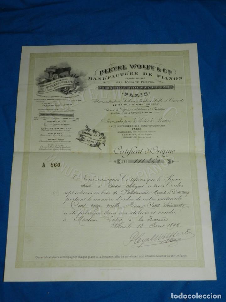 (M2) CERTIFICADO PLEYEL WOLFF & CIE MANUFACTURE DEPIANOS IGNACE PLEYEL, PARIS 1895 (Música - Instrumentos Musicales - Pianos Antiguos)