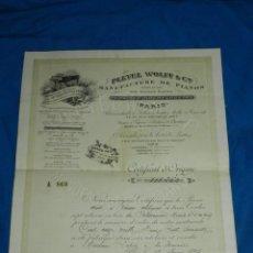 Instrumentos musicales: (M2) CERTIFICADO PLEYEL WOLFF & CIE MANUFACTURE DEPIANOS IGNACE PLEYEL, PARIS 1895. Lote 245208055