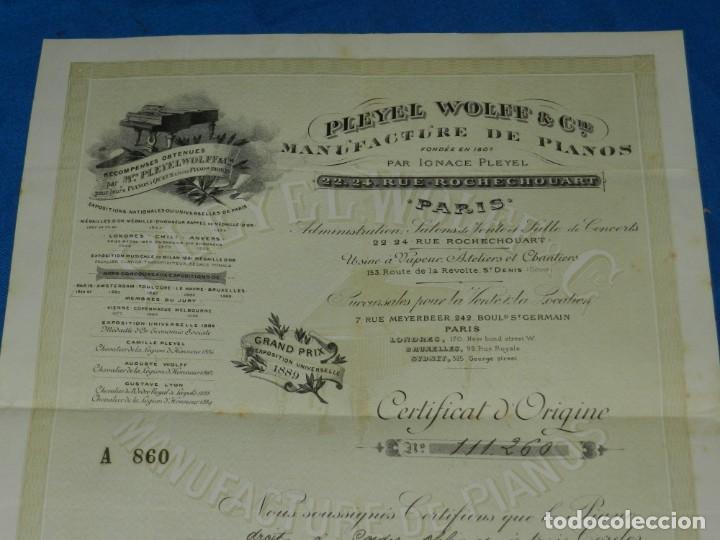 Instrumentos musicales: (M2) CERTIFICADO PLEYEL WOLFF & CIE MANUFACTURE DEPIANOS IGNACE PLEYEL, PARIS 1895 - Foto 2 - 245208055
