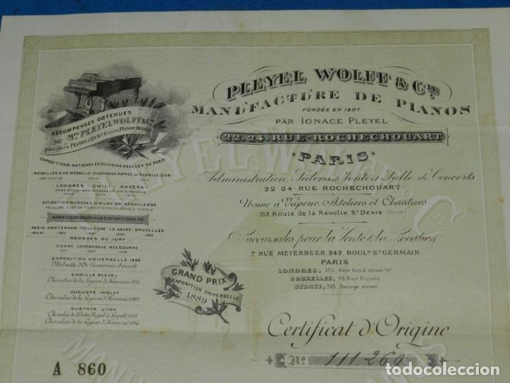 Instrumentos musicales: (M2) CERTIFICADO PLEYEL WOLFF & CIE MANUFACTURE DEPIANOS IGNACE PLEYEL, PARIS 1895 - Foto 3 - 245208055