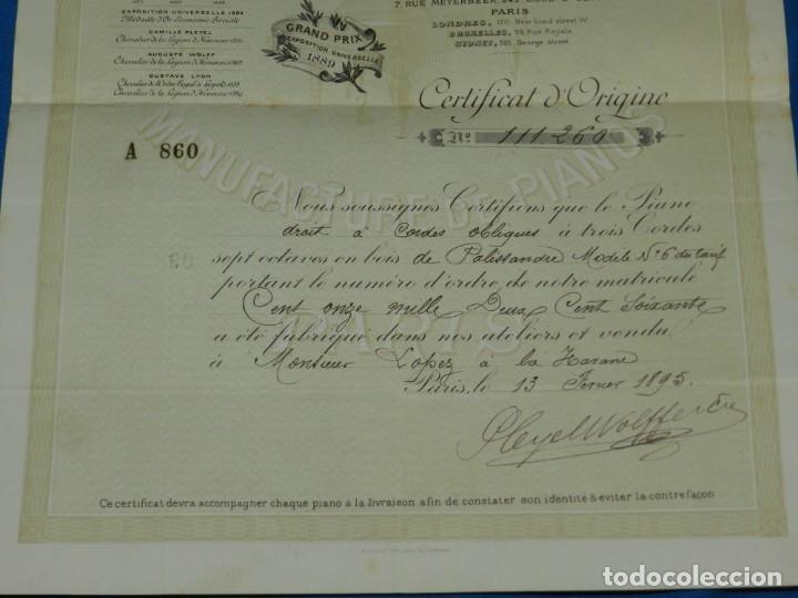 Instrumentos musicales: (M2) CERTIFICADO PLEYEL WOLFF & CIE MANUFACTURE DEPIANOS IGNACE PLEYEL, PARIS 1895 - Foto 4 - 245208055