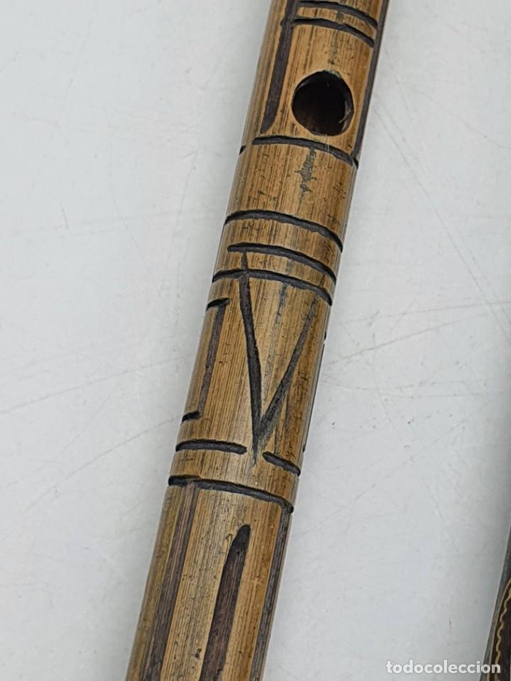 Instrumentos musicales: 2 FLAUTAS EN MADERA Y BAMBÚ ( VER FOTOS ) - Foto 10 - 251029385