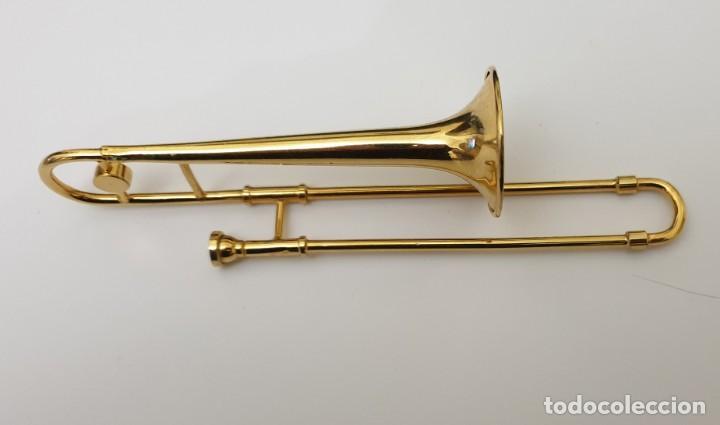 Instrumentos musicales: LOTE 4 INSTRUMENTOS VIENTO DE METAL EN MINIATURA 13-15 CM CON SU ESTUCHE TROMPETA SAXO TROMBON TUBA - Foto 4 - 254083265