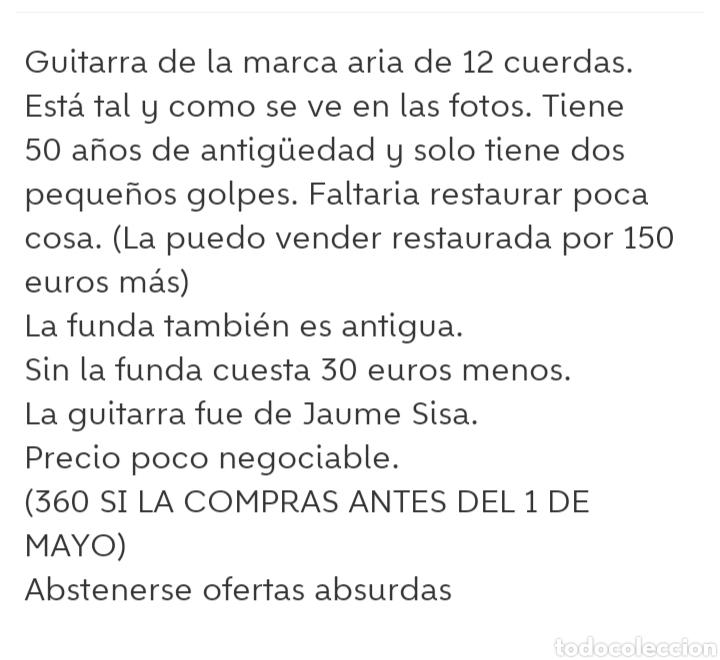 Instrumentos musicales: Guitarra aria 12 cuerdas de 1965 made in japan - Foto 11 - 255408355