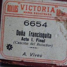Instrumentos musicales: ROLLO DE PIANOLA. DOÑA FRANCISQUITA . A. VIVES. Lote 256076420