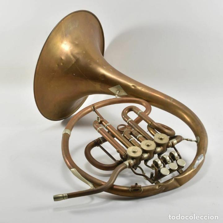 Instrumentos musicales: ANTIGUA TROMPA TROMPETA CUERNO cuerno Paul Wittlin Basse 46,5 CM 2 KG. - Foto 2 - 260095450