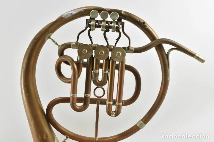 Instrumentos musicales: ANTIGUA TROMPA TROMPETA CUERNO cuerno Paul Wittlin Basse 46,5 CM 2 KG. - Foto 5 - 260095450