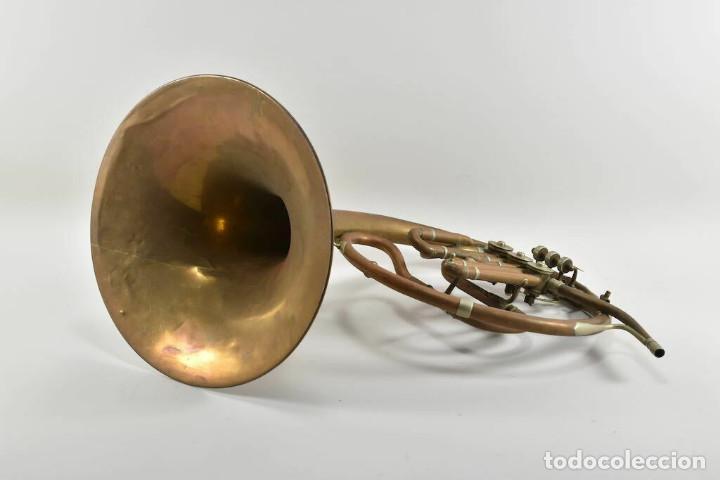 Instrumentos musicales: ANTIGUA TROMPA TROMPETA CUERNO cuerno Paul Wittlin Basse 46,5 CM 2 KG. - Foto 6 - 260095450