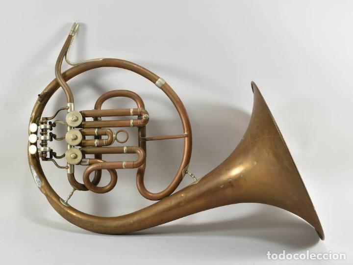 ANTIGUA TROMPA TROMPETA CUERNO CUERNO PAUL WITTLIN BASSE 46,5 CM 2 KG. (Música - Instrumentos Musicales - Viento Metal)