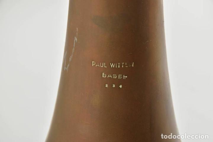 Instrumentos musicales: ANTIGUA TROMPA TROMPETA CUERNO cuerno Paul Wittlin Basse 46,5 CM 2 KG. - Foto 3 - 260095450