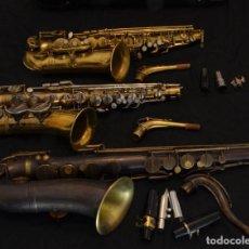 Instrumentos musicales: ANTIQUÍSIMO SAXOFÓN TENOR BUFFET EVETTE SCHAEFFER 18&20 PARÍS, 1887 Y DOS SAXOFONES ALTOS MÁS. Lote 264694364