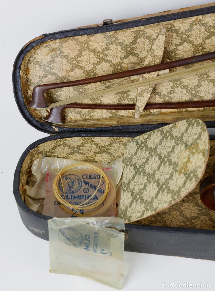 Instrumentos musicales: ANTIGUO VIOLÍN EN ESTUCHE - EN BUEN ESTADO APARENTE. - Foto 9 - 269163248