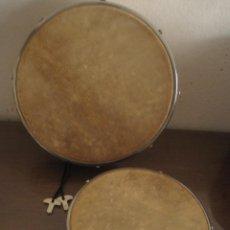 Instrumentos musicales: LOTE DOS TAMBORES PANDERETAS COMO NUEVOS CON LLAVES PARA AFINAR. Lote 270522498