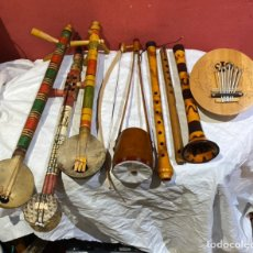 Instrumentos musicales: LOTE DE 8 INSTRUMÉNTOS MÚSICALES MADERA ANTIGUOS . VER TODAS LAS FOTOS. Lote 275099293