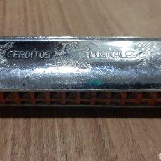 Instrumentos musicales: CERDITOS MUSICALES ARMONICA VINTAGE. Lote 288554803