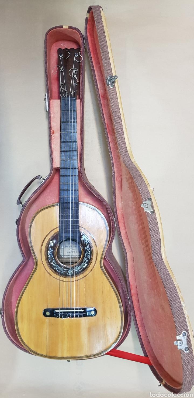 GUITARRA ESPAÑOLA DE EUSEBIO CARCELLER GUITARRERO DE ZARAGOZA CALLE DE LAS ARMAS SXIX (Música - Instrumentos Musicales - Guitarras Antiguas)