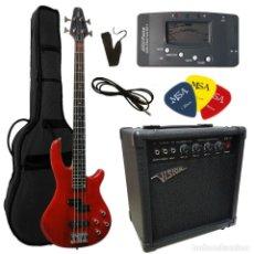 Instrumentos musicales: PACK BAJO ELECTRICO AMPLIFICADOR FUNDA Y ACCESORIOS. Lote 293284303