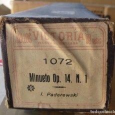 Instrumentos musicales: ROLLO PIANOLA / ORGANILLO MINUETO OP. 14 N. 1 (I. PADEREWSKI). CON SU ESTUCHE ORIGINAL. Lote 295714598