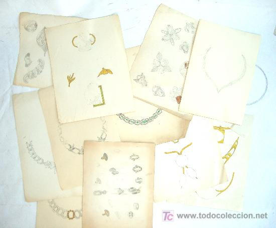 8bd1dc4373ef Lote de diseños originales para joyas. Años 40. (15 hojas)