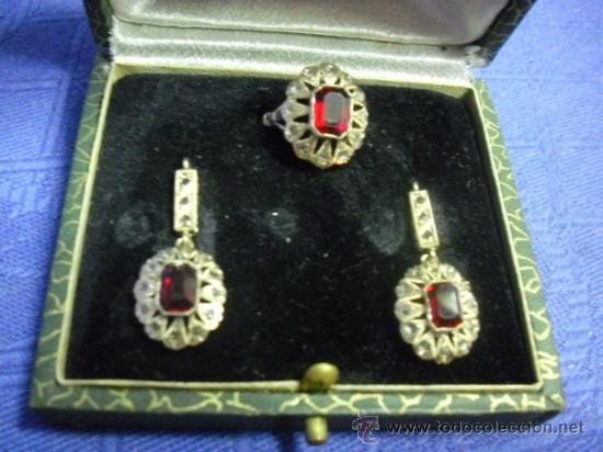 7befbb92a318 Antiguo conjunto de anillo y pendientes en oro - Vendido en Venta ...