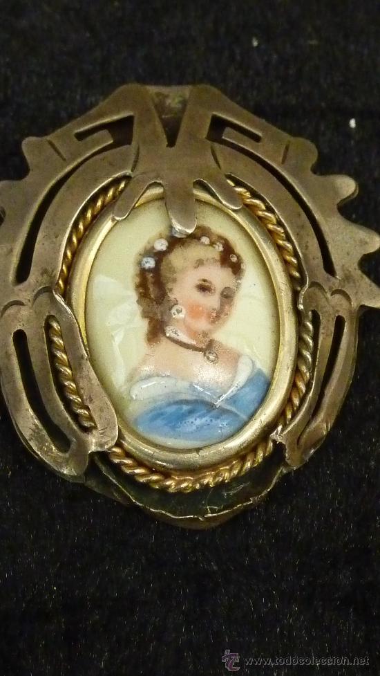 Joyeria: Antiguo broche en plata y esmalte pintado. Modernista. - Foto 2 - 29824973