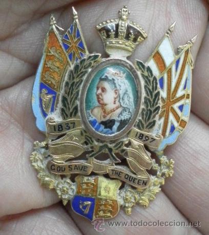 INGLATERRA. BROCHE. JUBILEO DE LA REINA VICTORIA. 1837 – 1897. ORO DE 9 K Y ESMALTES. (Joyería - Broches Antiguos)
