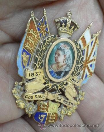 Joyeria: Inglaterra. Broche. Jubileo de la Reina Victoria. 1837 – 1897. Oro de 9 K y esmaltes. - Foto 4 - 37068871