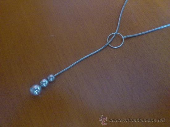 Joyeria: Original gargantilla vintage de plata de ley contrastada con tres cuentas en forma de perla . - Foto 7 - 37659265