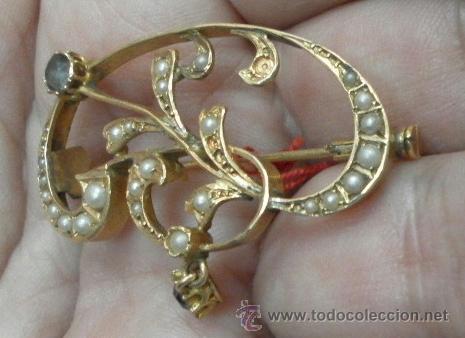 Joyeria: Antiguo Broche. Siglo XIX. Oro de 18 K - Foto 3 - 37859962