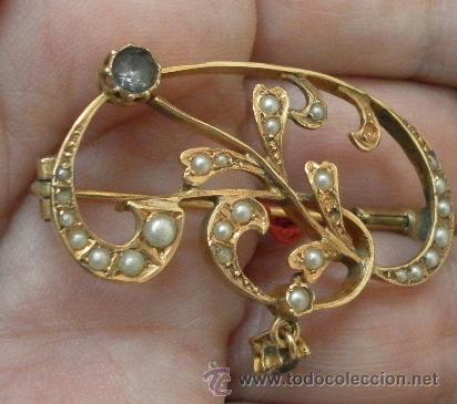 Joyeria: Antiguo Broche. Siglo XIX. Oro de 18 K - Foto 4 - 37859962