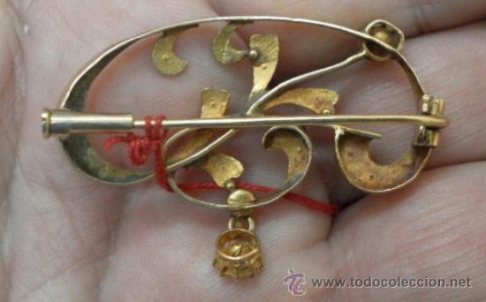 Joyeria: Antiguo Broche. Siglo XIX. Oro de 18 K - Foto 5 - 37859962